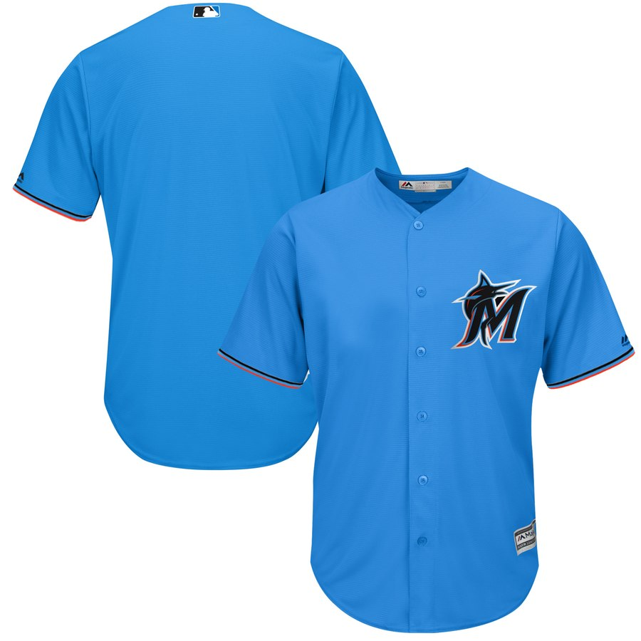 Marlins Blank Blue Cool Base Jersey