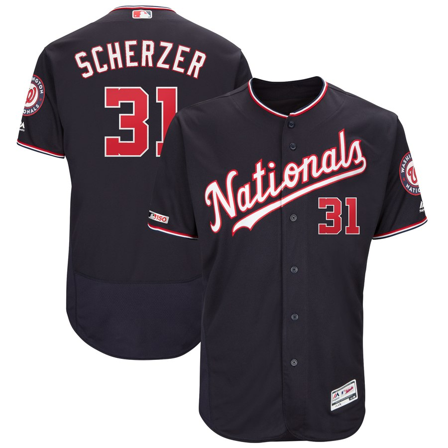 Nationals 31 Max Scherzer Navy 150th Patch Flexbase Jersey
