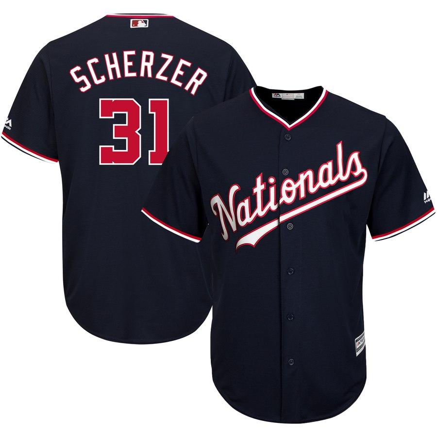 Nationals 31 Max Scherzer Navy Cool Base Jersey