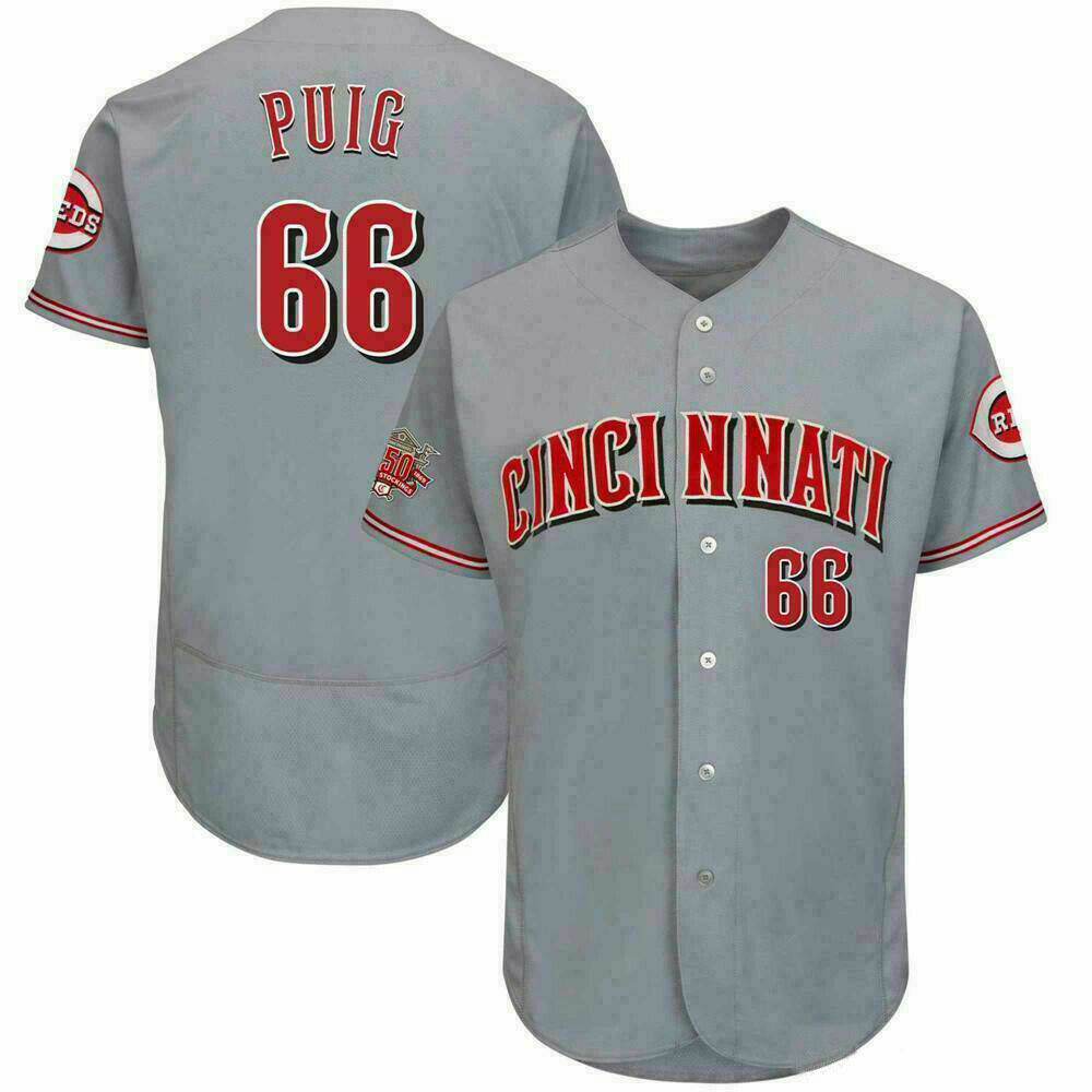 Reds 66 Yasiel Puig Gray 150th Anniversary FlexBase Jersey
