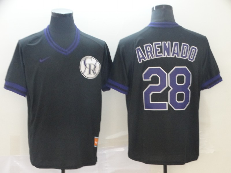 Rockies 28 Nolan Arenado Black Throwback Jersey