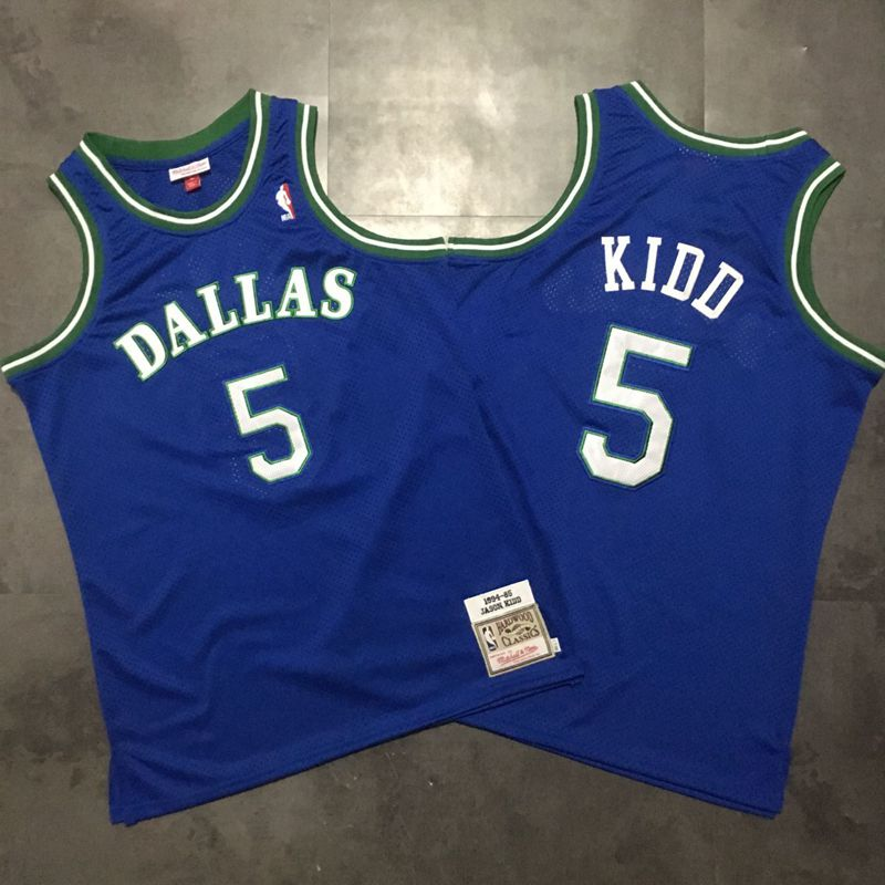 Mavericks 5 Jason Kidd Blue 1994-95 Hardwood Classics Jersey