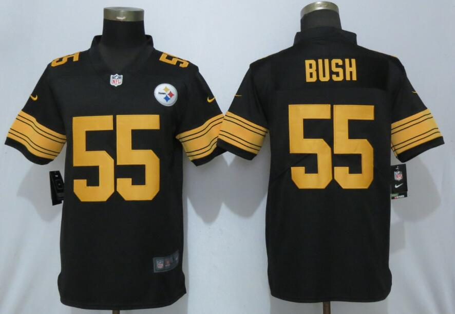 Nike Steelers 55 Devin Bush Black 2019 NFL Draft First Round Pick Color Rush Limited Jersey
