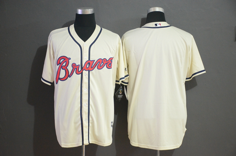Braves Blank Cream Cool Base Jersey
