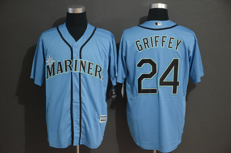 Mariners 24 Ken Griffey Jr. Blue Cool Base Jersey