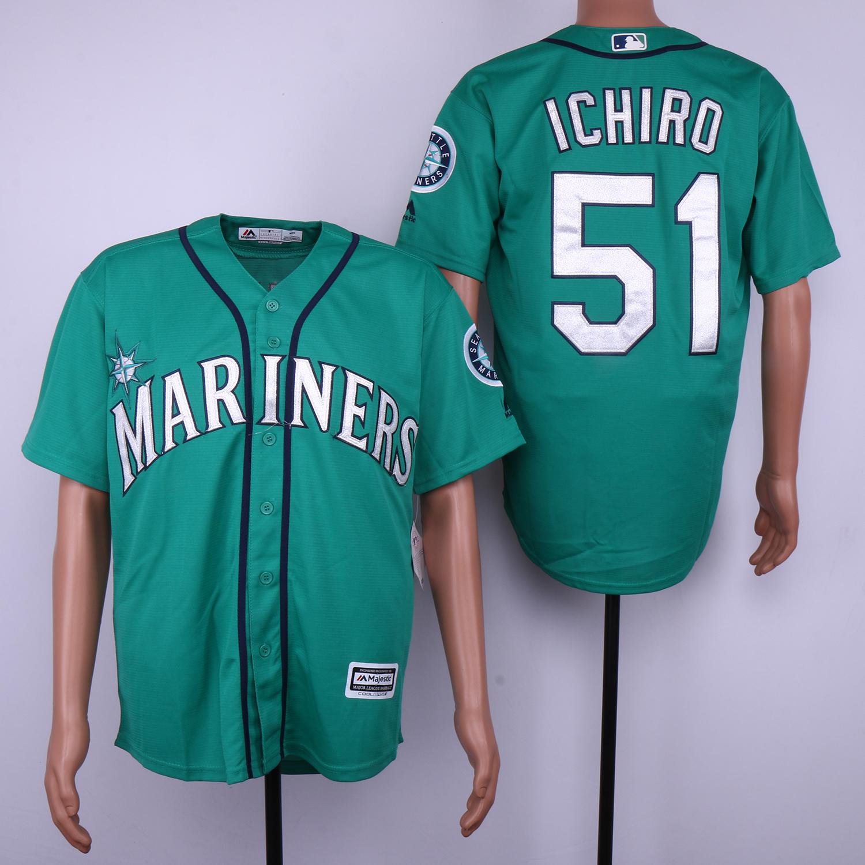 Mariners 51 Ichiro Suzuki Green Cool Base Jersey