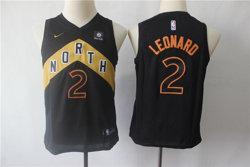 Raptors 2 Kawhi Leonard Black Youth City Edition Nike Swingman Jersey
