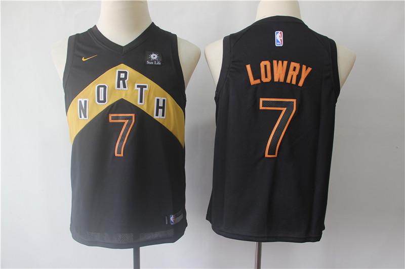 Raptors 7 Kyle Lowry Black Youth City Edition Nike Swingman Jersey