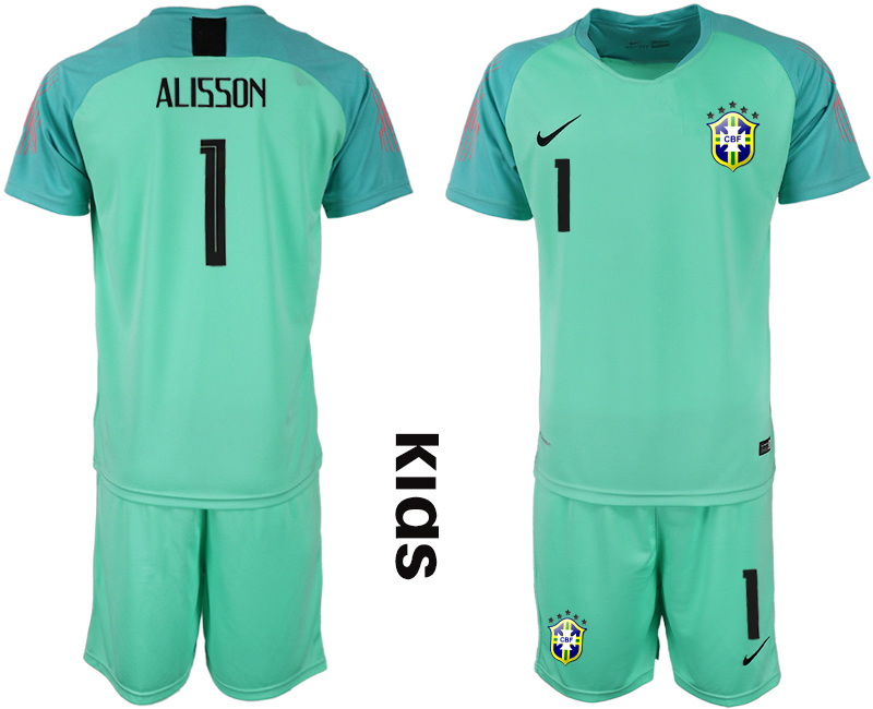 2019-20 Brazil 1 ALISSON Blue Youth Goalkeeper Soccer Jersey