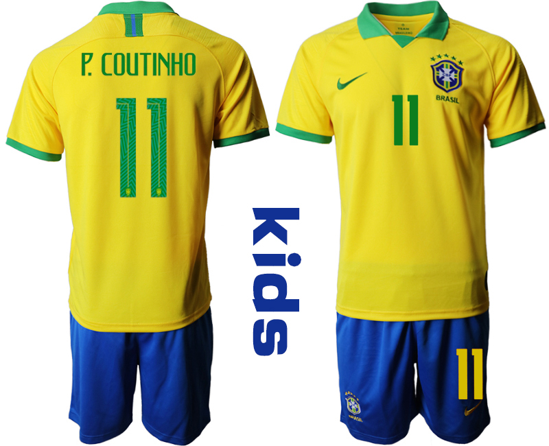 2019-20 Brazil 11 P. COUTINHO Youth Home Soccer Jersey