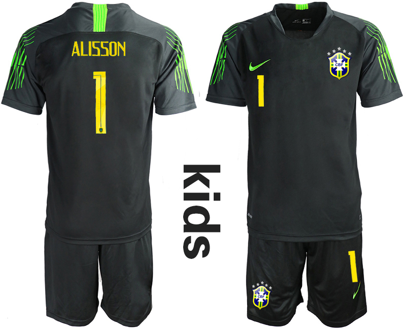 2019-20 Brazil Black 1 ALISSON Youth Goalkeeper Soccer Jersey