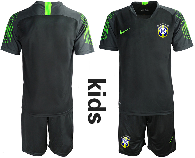2019-20 Brazil Black Youth Goalkeeper Soccer Jersey