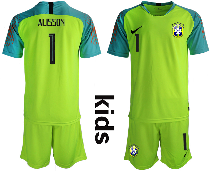 2019-20 Brazil Fluorescent Green 1 ALISSON Youth Goalkeeper Soccer Jersey