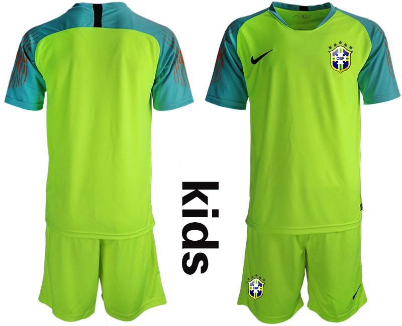 2019-20 Brazil Fluorescent Green Youth Goalkeeper Soccer Jersey