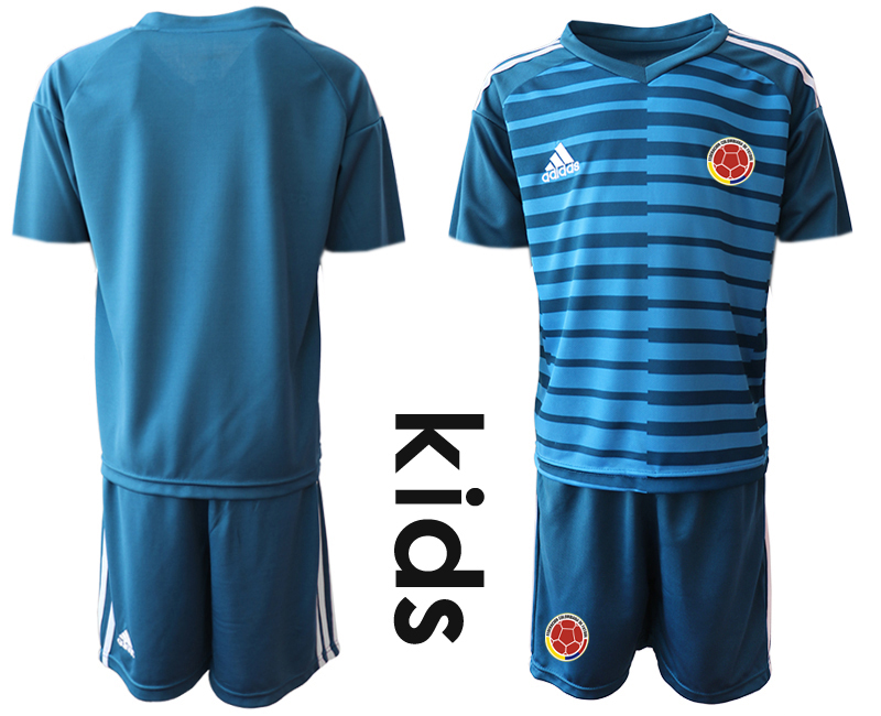 2019-20 Colombia Blue Youth Goalkeeper Soccer Jersey