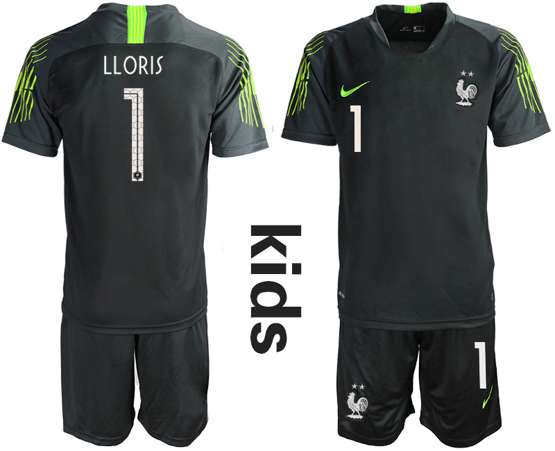 2019-20 France 1 LLORIS Black Youth Goalkeeper Soccer Jersey