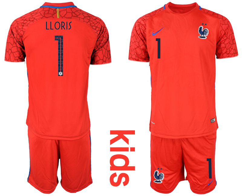 2019-20 France 1 LLORIS Red Youth Goalkeeper Soccer Jersey