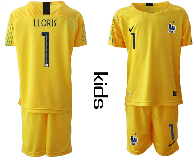 2019-20 France 1 LLORIS Yellow Youth Goalkeeper Soccer Jersey
