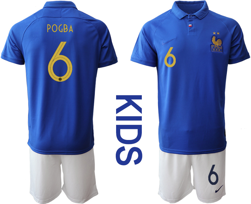 2019-20 France 6 POGBA Youth Centenary Edition Soccer Jersey