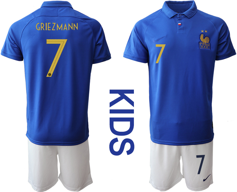 2019-20 France 7 GRIEZMANN Youth Centenary Edition Soccer Jersey