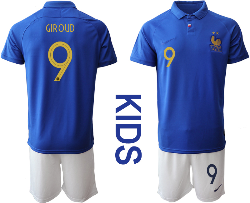2019-20 France 9 GIROUD Youth Centenary Edition Soccer Jersey