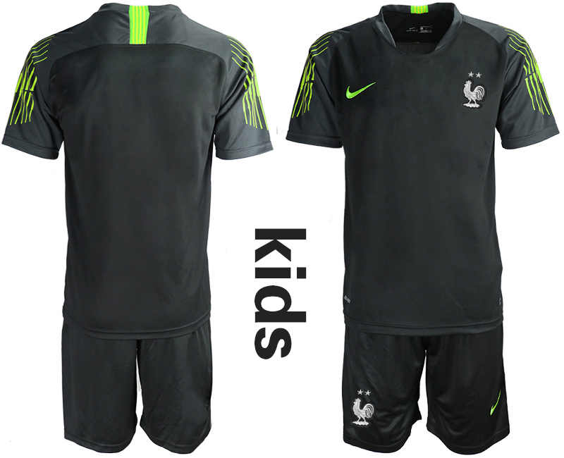 2019-20 France Black Youth Goalkeeper Soccer Jersey