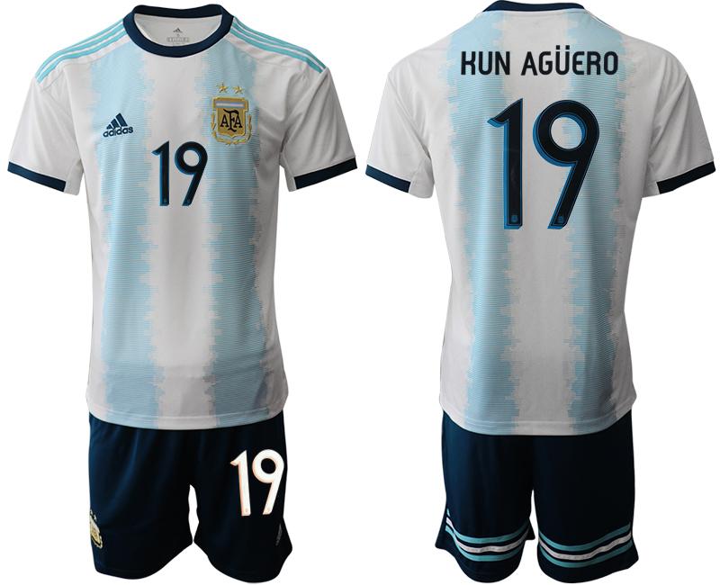 2019-20 Argentina 19 KUN AGUERO Home Soccer Jersey