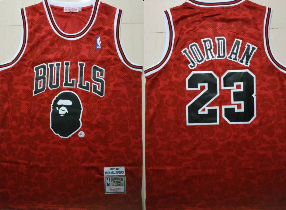 Bulls Bape 23 Michael Jordan Red 1997-98 Hardwood Classics Jersey