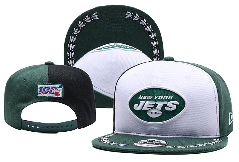 Jets Team Logo Green Black 2019 Draft Adjustable Hat YD