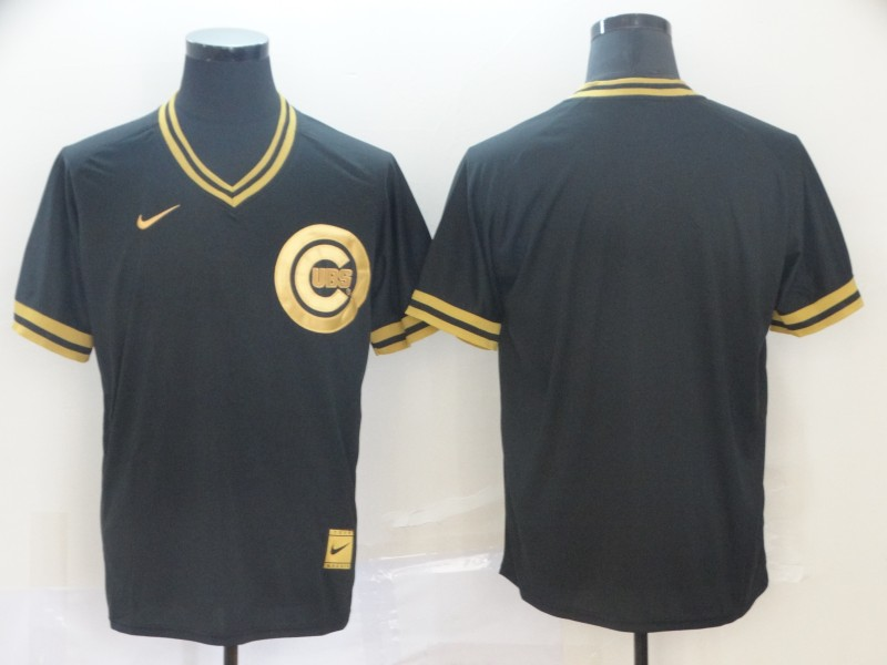 Cubs Blank Black Gold Nike Cooperstown Collection Legend V Neck Jersey