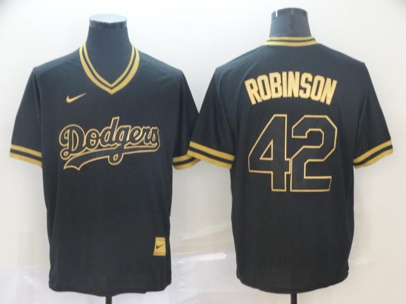 Dodgers 42 Jackie Robinson Black Gold Nike Cooperstown Collection Legend V Neck Jersey