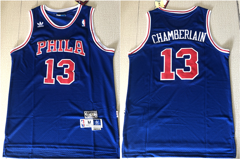 76ers 13 Wilt Chamberlain Blue Hardwood Classics Mesh Jersey