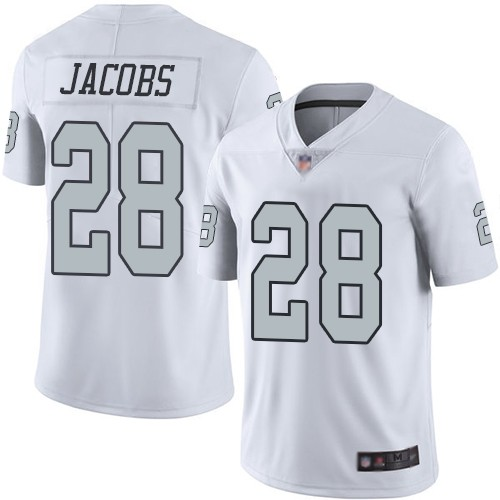 Nike Raiders 28 Josh Jacobs White 2019 NFL Draft First Round Pick Color Rush Limited Jersey