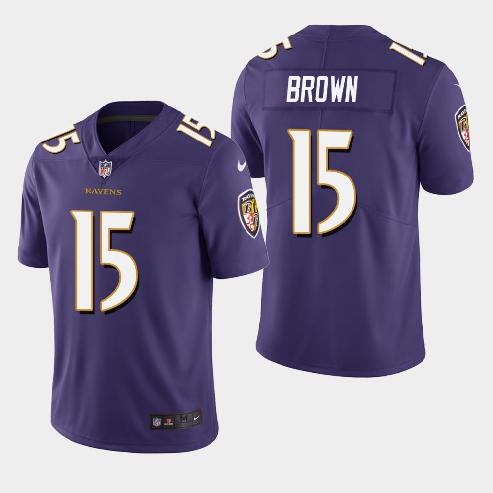 Nike Ravens 15 Marquise Brown Purple 2019 NFL Draft First Round Pick Vapor Untouchable Limited Jersey