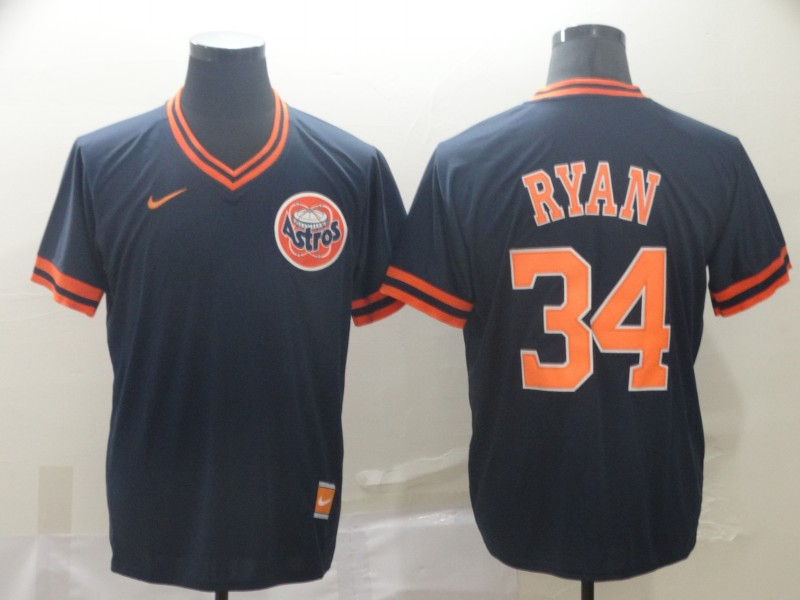 Astros 34 Nolan Ryan Navy Throwback Jersey
