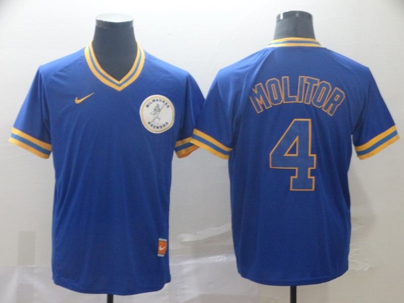 Brewers 4 Paul Molitor Royal Throwback Jersey