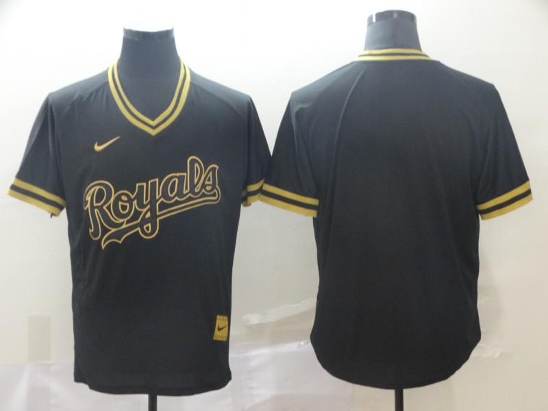 Dodgers Blank Black Gold Nike Cooperstown Collection Legend V Neck Jersey