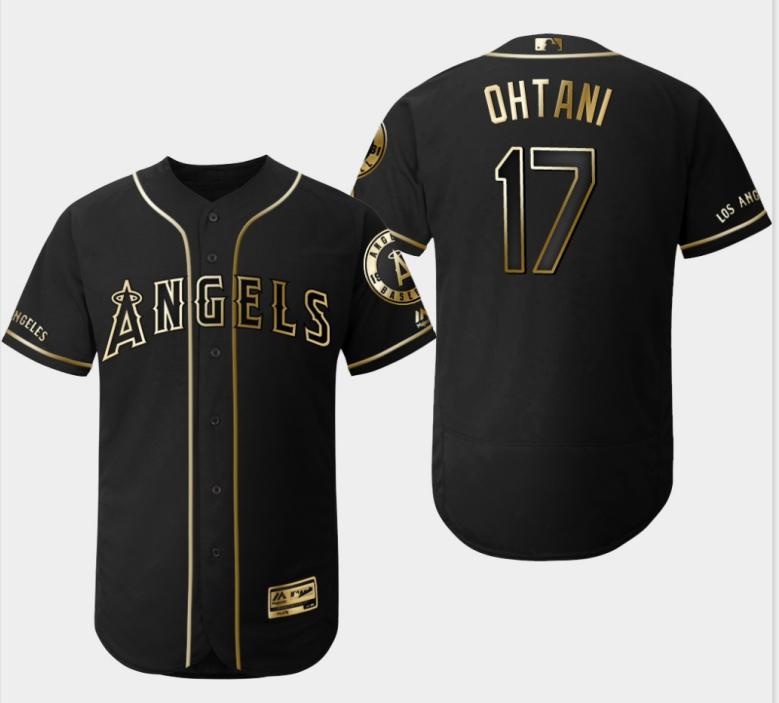 Angels 17 Shohei Ohtani Black Gold Flexbase Jersey