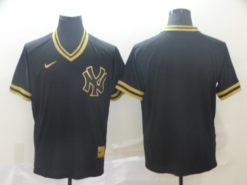 Yankees Blank Black Gold Nike Cooperstown Collection Legend V Neck Jersey