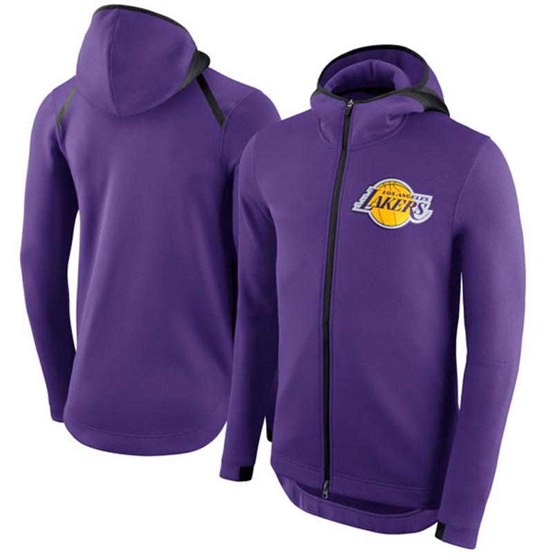 Los Angeles Lakers Nike Showtime Therma Flex Performance Full Zip Hoodie Purple