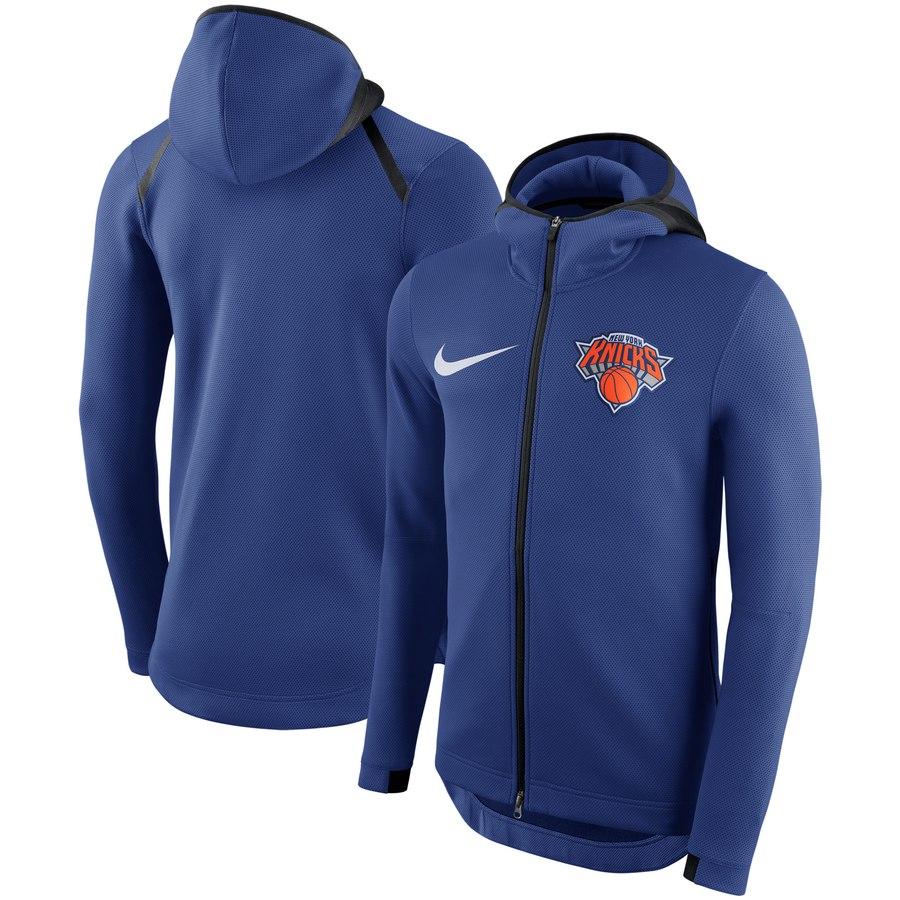 New York Knicks Nike Showtime Therma Flex Performance Full Zip Hoodie Blue