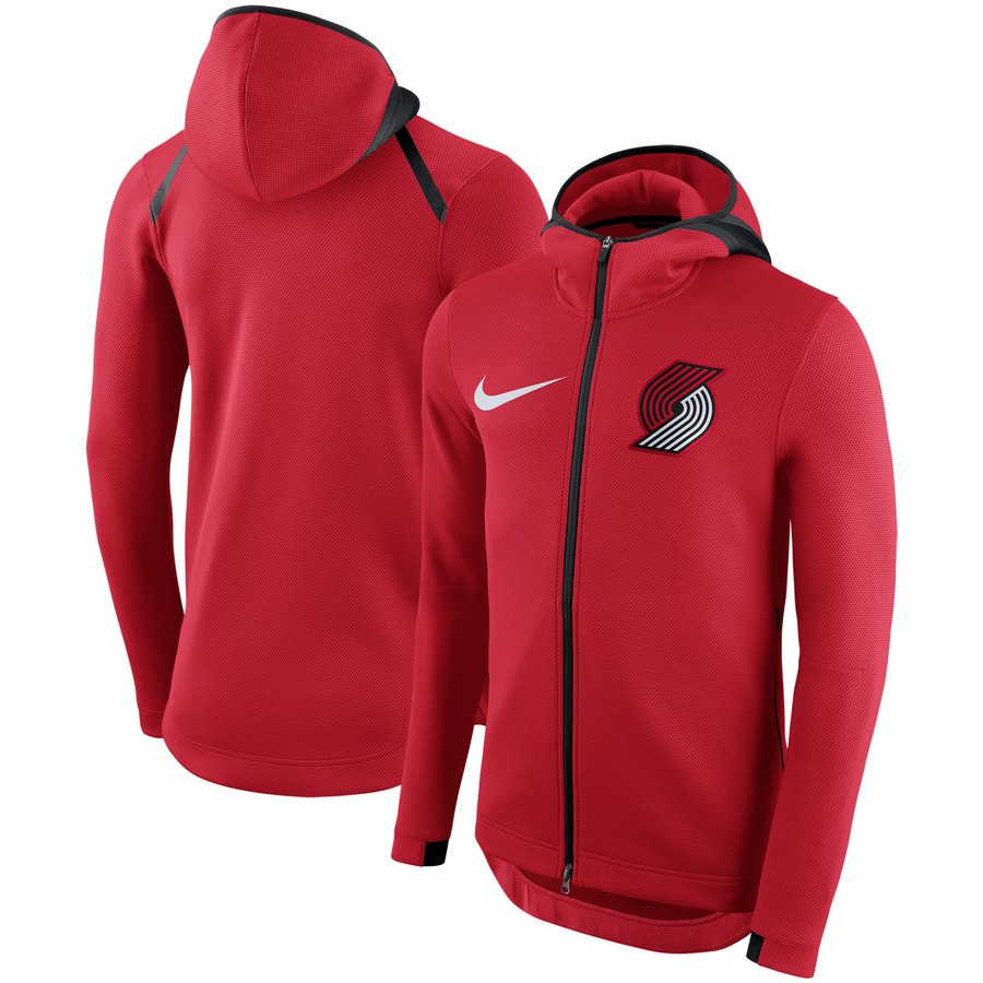 Portland Trail Blazers Nike Showtime Therma Flex Performance Full Zip Hoodie Red