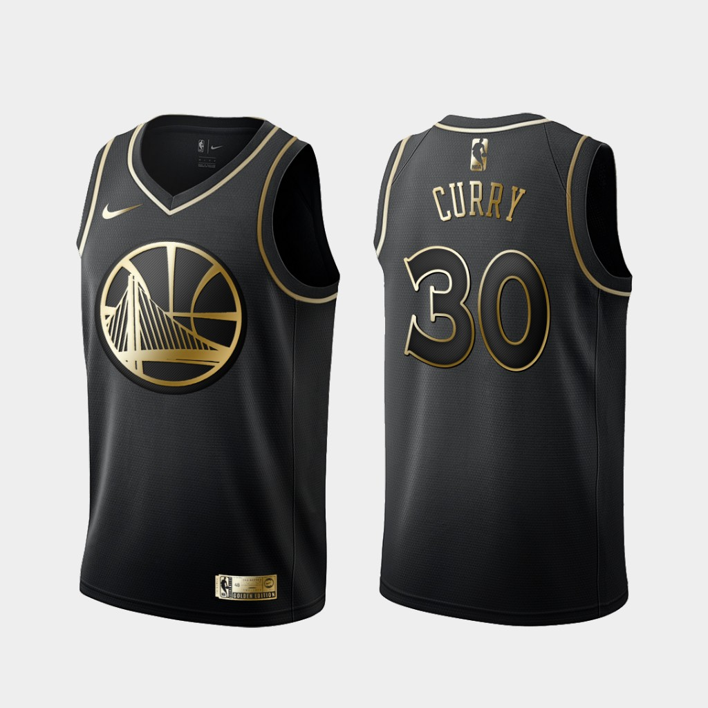 Warriors 30 Stephen Curry Black Gold Nike Swingman Jersey