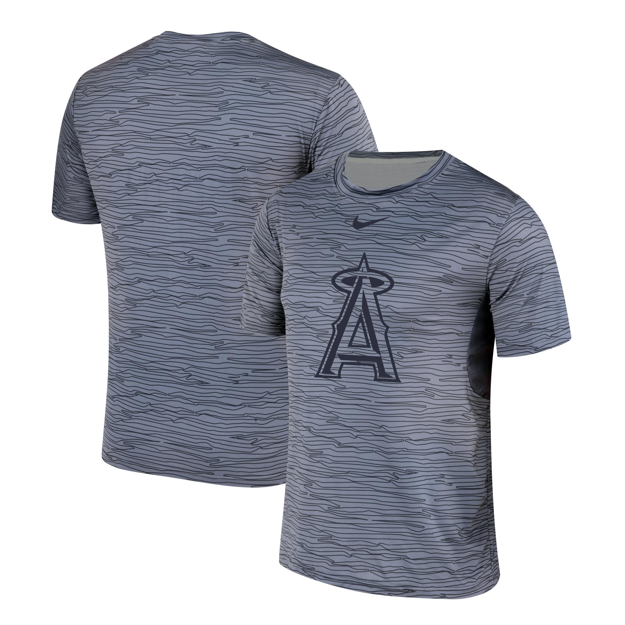 Nike Los Angeles Angels Gray Black Striped Logo Performance T-Shirt