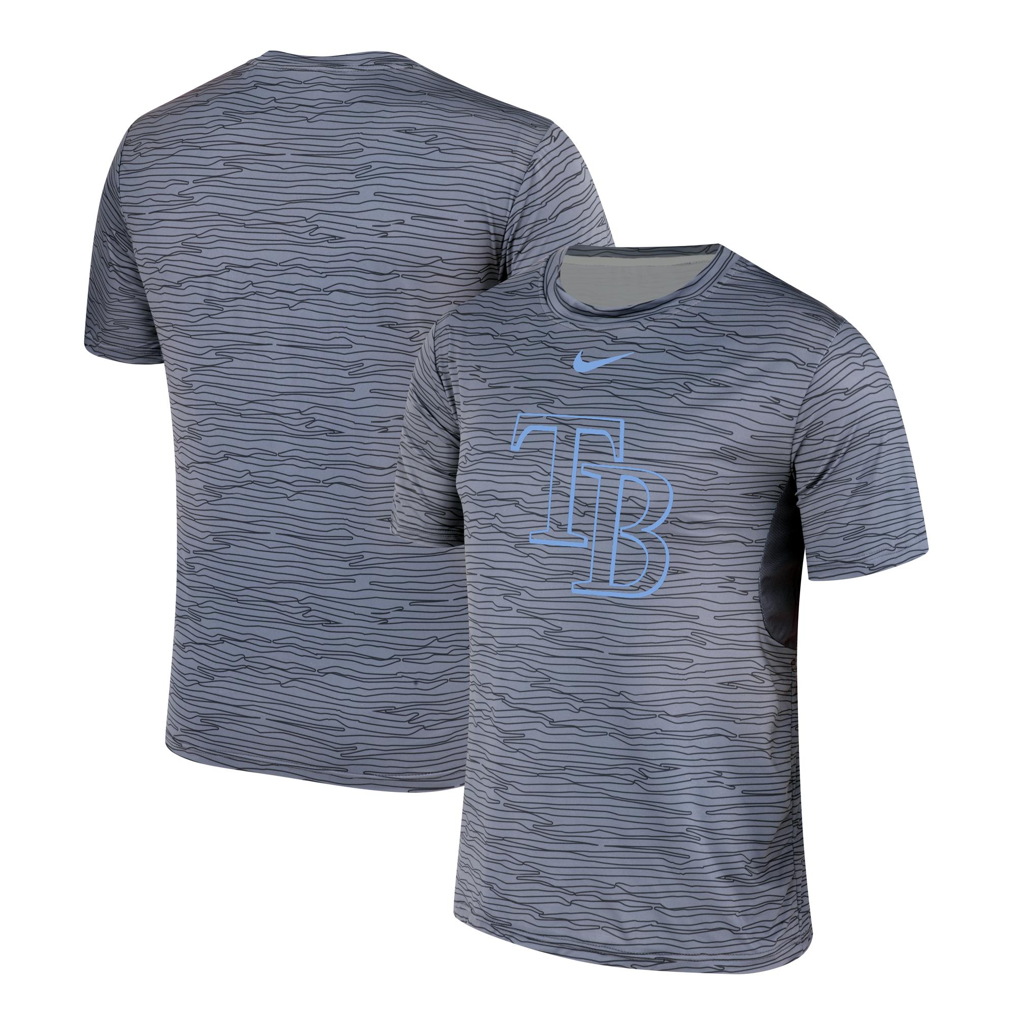 Nike Tampa Bay Rays Gray Black Striped Logo Performance T-Shirt