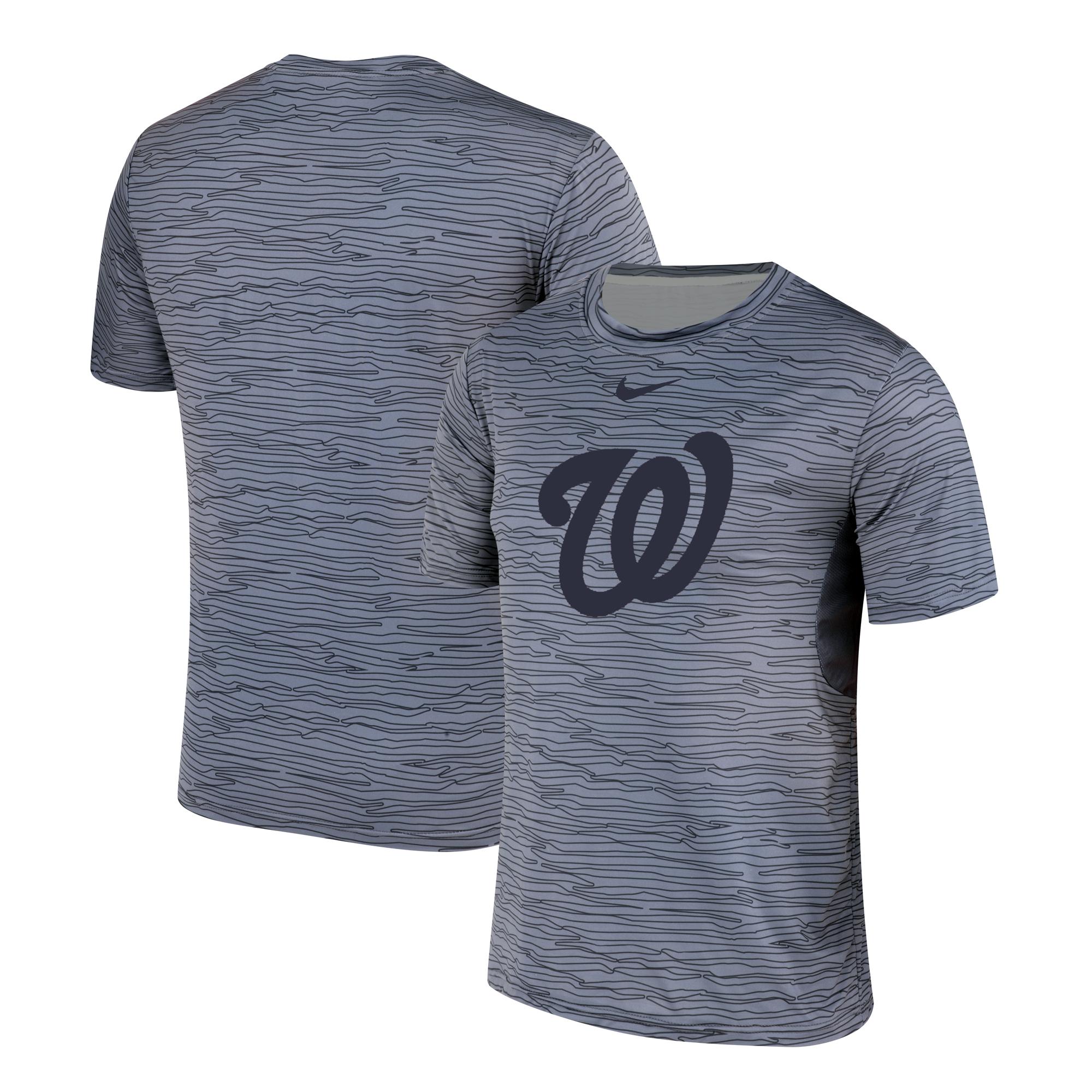 Nike Washington Nationals Gray Black Striped Logo Performance T-Shirt
