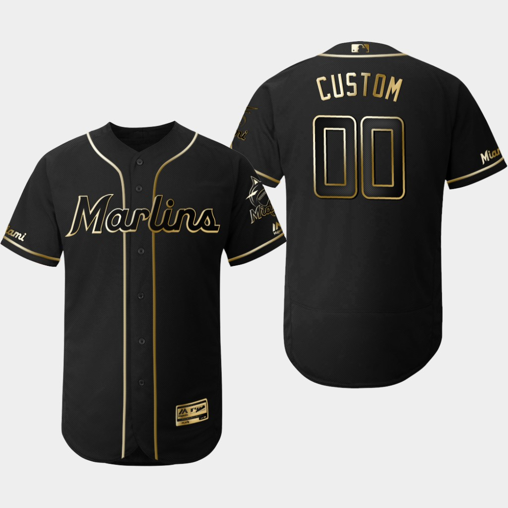 Marlins Customized Black Gold Flexbase Jersey