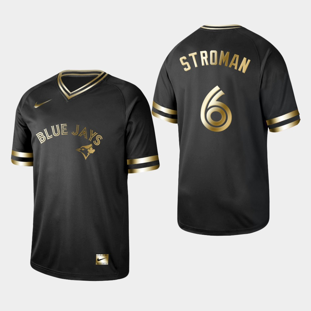 Blue Jays 6 Marcus Stroman Black Gold Nike Cooperstown Collection Legend V Neck Jersey