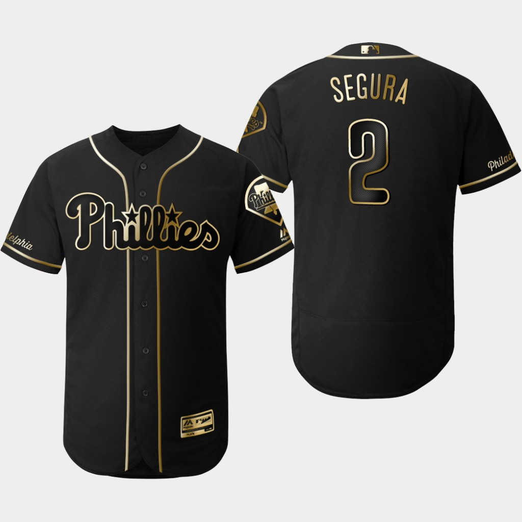Phillies 2 Jean Segura Black Gold Flexbase Jersey