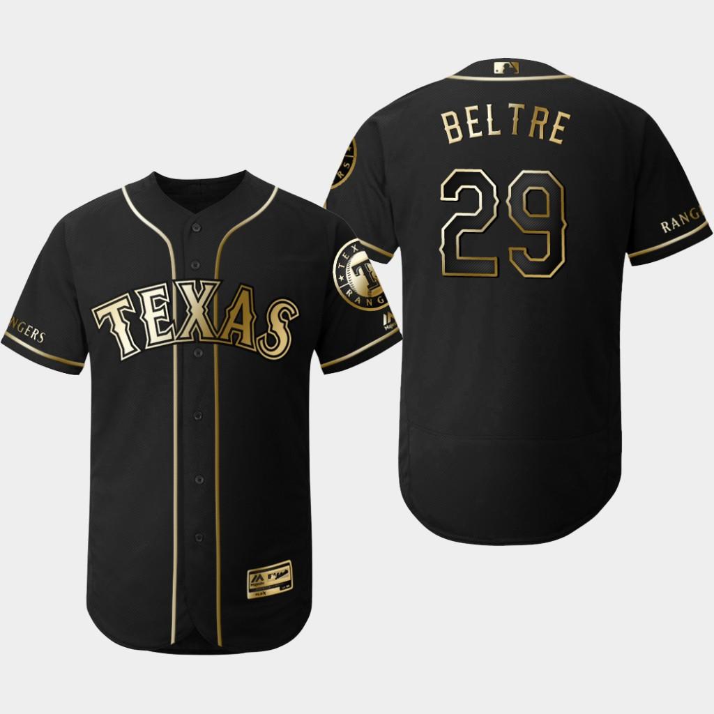 Rangers 29 Adrian Beltre Black Gold Flexbase Jersey